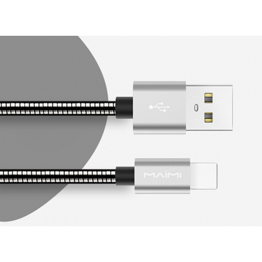 Кабель USB 3.1А MAIMi X25 (iOS Lighting,металл) 1м